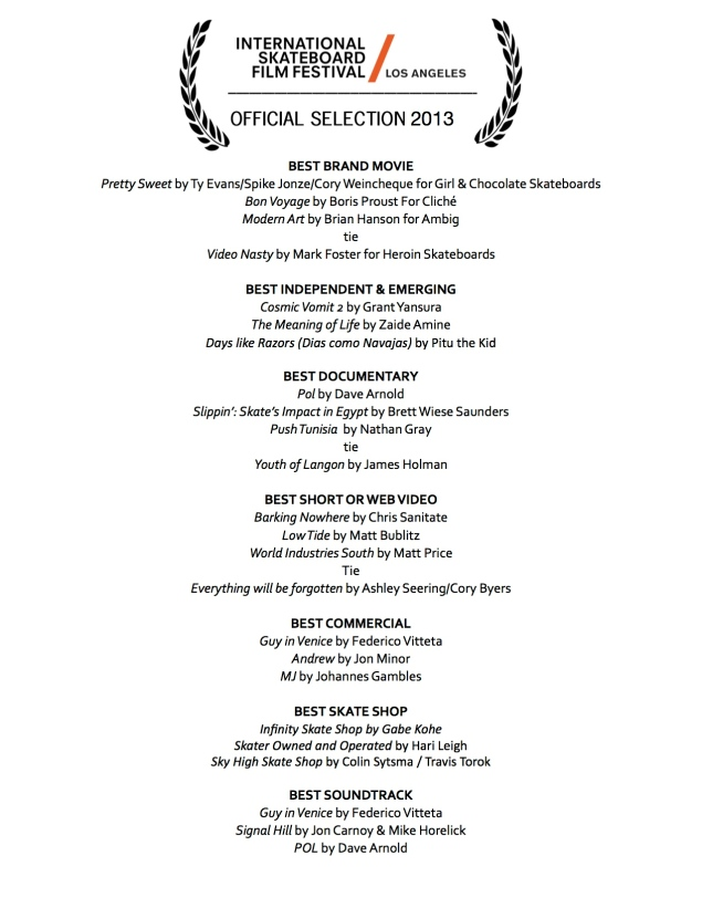 ISFF_LA Official Selections 2013